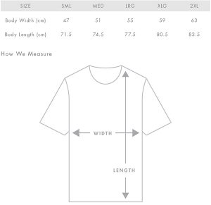 Barista Nation T-Shirt Size Guide